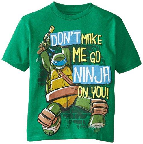 Teenage Mutant Ninja Turtles Little Boys' TMNT Don't Make Me Go Ninja On You Tee, Kelly Green, 7