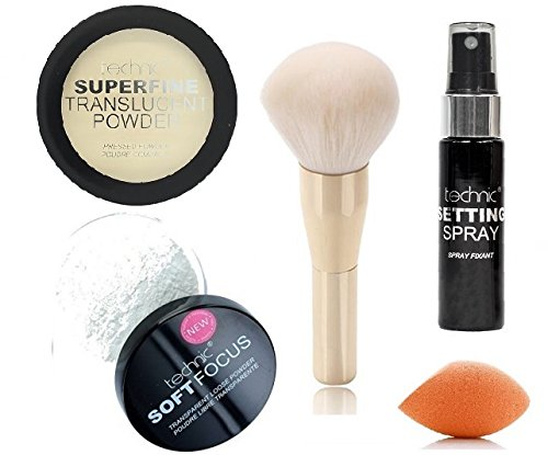Technic SuperFine Translucent Pressed Setting Powder + Technic Soft Focus Transparent Loose Powder + LyDia® White/Gold Large Head Powder Brush + Technic Makeup Setting Spray + LyDia® Mini Sponge Beauty Blender - LyDia Beauty
