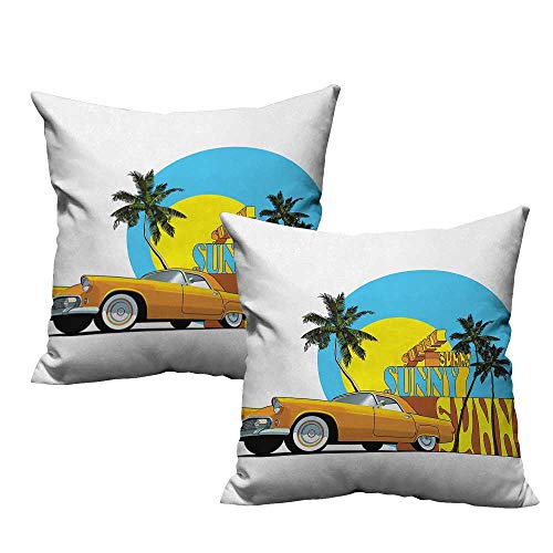 (warmfamily Retro Fashion Pillowcase Vintage Car in Magic City Miami with Exotic Coconut Trees Sunny Day Beach Soft and Durable W19 x L19 Yellow Blue Orange)
