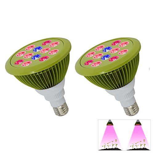 LED Grow Light Bulb, 12W E26 3 Brand Growing Plant Lamp for Indoor Plants Greenhouse and Hydroponic Growing Flowering 2-Pack by YKUNLED