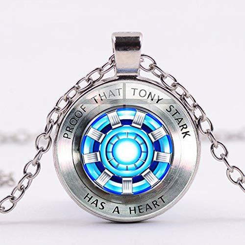 Vendichi Iron Man Tony Stark Arc Reactor Collana 3d Stampa In Vetro Ciondolo Placcato A Vento Lungo Collana Marvel Fans Souvenir