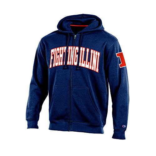 NCAA Illinois Illini Adult Men Full Zip Hooded Fleece, X-Large, Navy (Fleece Illini Illinois)