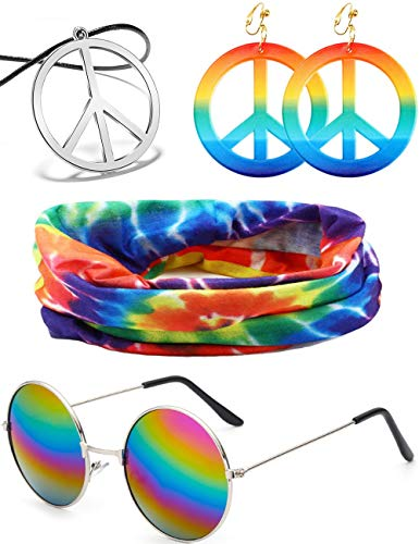 BOMAIL 4 Pieces Hippie Costume Set for Women Men Hippie Sunglasses Peace Sign Pendant Tie Dye Headband Bandana Peace Sign Earrings 60s or 70s Hippie Accessories to Make You The Hit of The Party