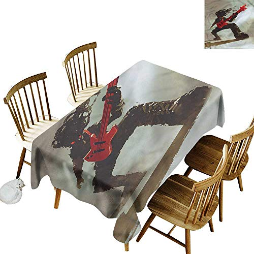 - home1love Tablecloth for Kids/Childrens Fantasy Hipster Rocker Guitar Fashions Rectangular 60