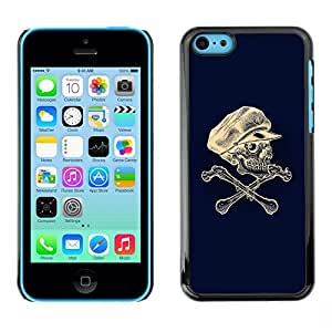All Phone Most Case / Hard PC Metal piece Shell Slim Cover Protective Case Carcasa Funda Caso de protección para Apple Iphone 5C Skull Captain Crossbones Blue White