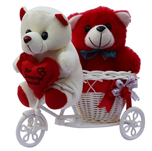51RqjJHZeKL Anishoptm Two Cute Teddy With A Tricycle Gift Set.