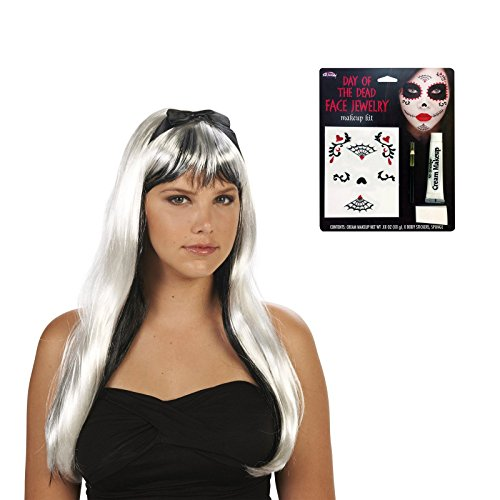 [Black and White Adult Wig and Day of the Dead Makeup Bundle Set] (Monster High Dia De Los Muertos)