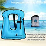 Life Jacket Adult Inflatable Swim Vest for Snorkeling by OMOUBOI Suitable for 80-220lbs.Click on The Code to Have a Surprise
