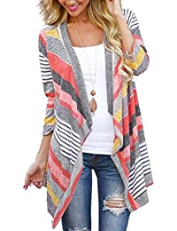 Women's Black White Elbow Patch Shawl Collar Summer Striped Open Front Cardigan Sweaters Coat Outwear …