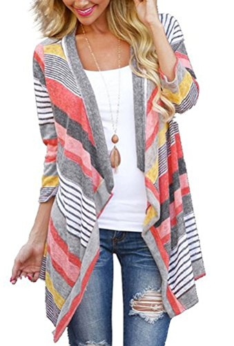 Myobe Womens 3 4 Sleeve Red Striped Aztec Open Front Cable Knit Cardigan Sweater (L, Red)