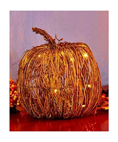 Whops Shop Large Pumpkin Lighted Grapevine Pumpkin Collection LED Fall Autumn Harvest Rattan Metal - Grapevine Lighted