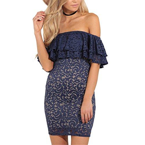 Amazon.com: CannerCA Fashion Lace Ruffle Short Dress women Off shoulder sleeveless dress Clubwear Dress vestidos 8771: Clothing