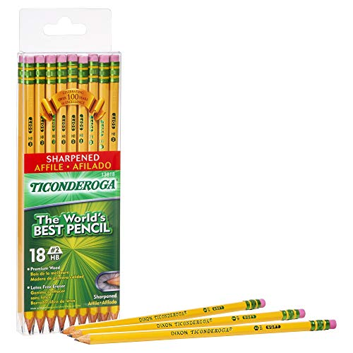 - TICONDEROGA Pencils, Wood-Cased #2 HB Soft, Pre-Sharpened with Eraser, Yellow, 18-Pack (13818)