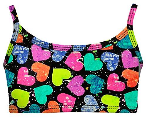 City Threads Little Girls Bikini Top for Girls UPF50+ Sun Protection Toddler Bathing Suit Rash Guard for Beach Pool Swimwear, Hearts Splatter, 7