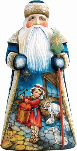 Russian Santa Figurine - G. Debrekht My Gift to You Santa Carved Wood and Hand-Painted Figurine, 10