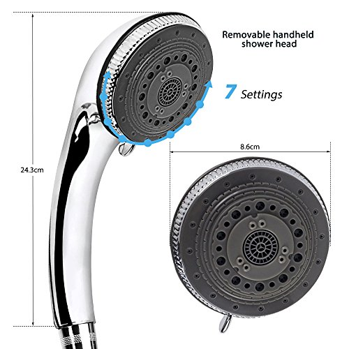 Shower Head - 7 Mode Settings Luxury Spa Adjustable Shower Heads with Handheld Spray, High Pressure Shower Head With Hose And Teflon Tape For Bathroom by EocuSun (Image #1)