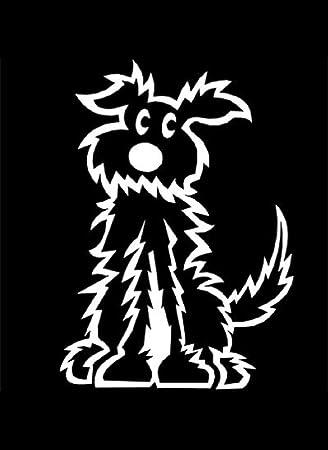 My Stick Figure Family Auto Aufkleber Familie Aufkleber Decal Sticker Mittler Hund Mit Langem Haar 6cm Pd2 Auto