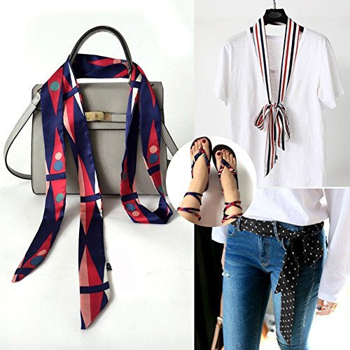 Sash Scarf (Multifunctional Fashionable Women's Long Skinny Thin Scarf Tie Sash Scarves Silky Satin Neckerchief Bag Band for Xmas)