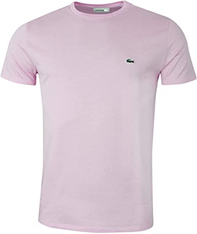 Lacoste de los Hombres Camiseta Logo Crew, Rosado: Amazon.es: Ropa ...