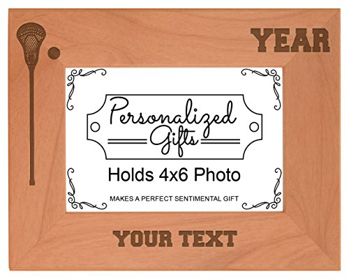 Custom Lacrosse Coach Gifts Add Text Year Personalized Natural Wood Engraved 4x6 Landscape Picture Frame