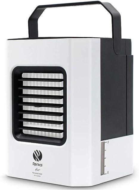 GRELEE Portátil Mini Air Conditioner,Aire Enfriador,4-en-1 Mini Ventilador Humidificador Purificador de Aire USB Aire Acondicionado [Sin Freón] para Casa/Oficina ...