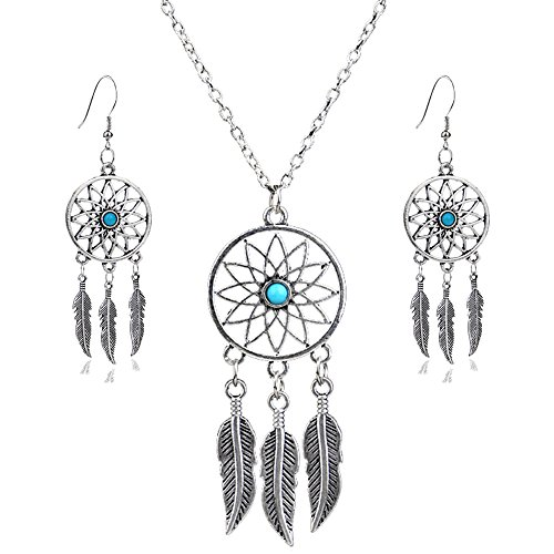 lauhonmin 3pcs Women Retro Silver Turquoise Feather Dream Catcher Pendant Necklace Earrings Set Family Friend Gift