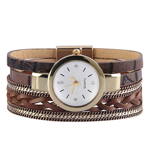 Bfiyi Women's Leather Watch Wrap Around Bracelets Casual Quartz Wrist Watch Leather Cuff Bracelet with Magnetic Clasp Ladies Gold Plated Watches for Wife, Ladies, Girls Gifts