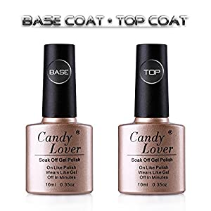 Candy Lover 10ml Clear Base Coat and Top Coat Gel Nail Polish Sets UV LED Soak Off Nail Lacquers French Manicure Kits for Nail Arts
