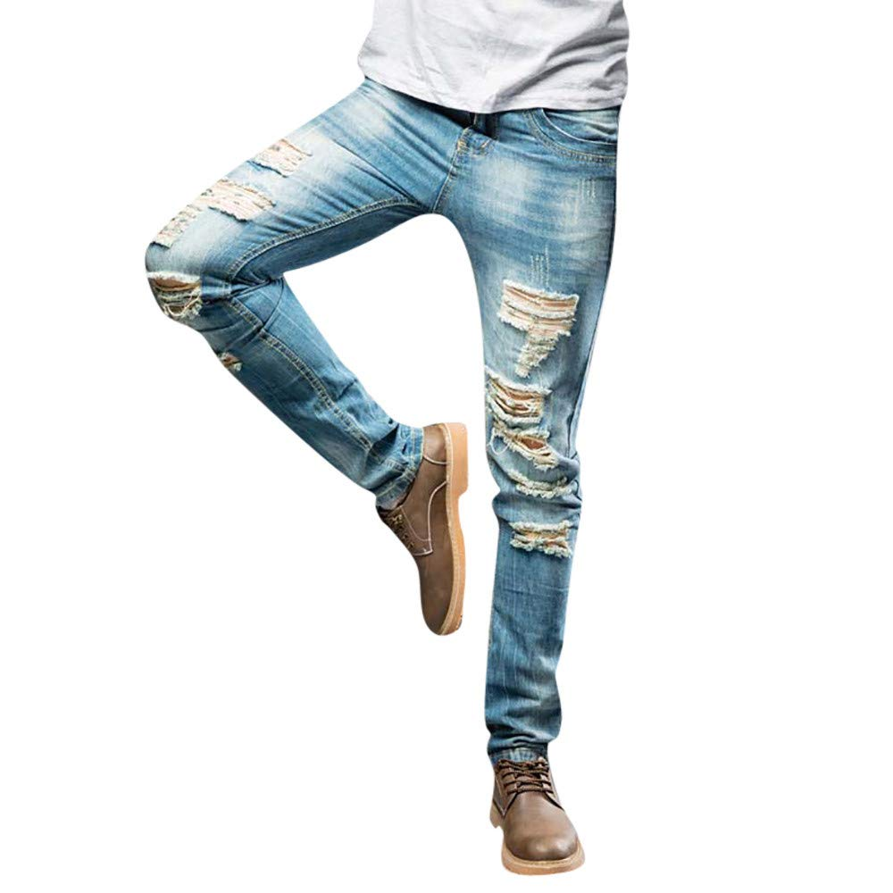 PASATO Men's Casual Autumn Denim Cotton Straight Ripped Hole Trousers Jeans Pants, Clearance Sale(Light, 42