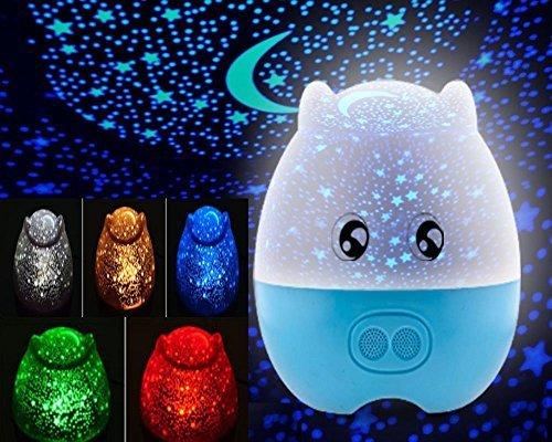 Kangsanli @ Mini Pig形状回転投影スカイスターマスターLEDプロジェクターライト子供寝室ベッドライトスピーカーのクリエイティブUSB投影ランプのライトwith Star 5 Color ブルー Kangsanli B015GOVMQK