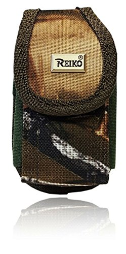 Premium AccessoryHappy Vertical Canvas Belt Case, Small Hunting Camo Rugged Pouch Holster Nylon Metal Clip Flip Phone Belt Case Fits Most FLIP Small/Medium Phones ()
