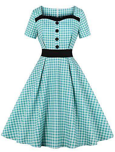 Print Vintage Dress - Nihsatin Women's Vintage Plaids Prints Swing Dress Rockabilly Short Sleeves Prom Dresses