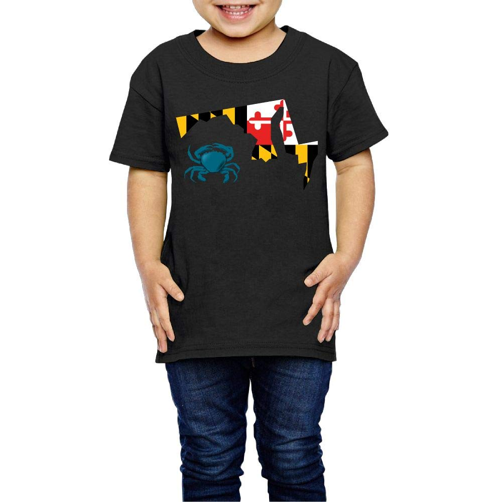 XYMYFC-E Maryland Flag Crab 2-6 Years Old Kids Short-Sleeved Tshirts