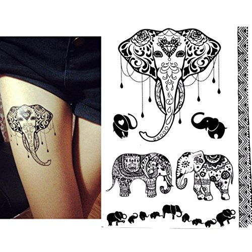 Black Henna Body Paints Temporary Tattoo Designs Pack Of 6 Sheets