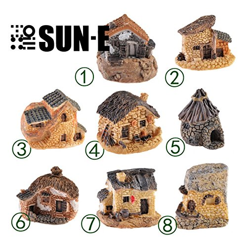 SUN-E 8pcs(Random color) In Set Moss fairy Miniature Fairy Garden Stone House Statue Home Decoration Outdoor Decor