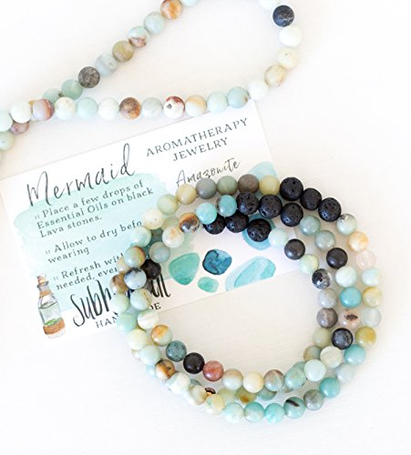 Subherban Handmade Essential Oils Aromatherapy Bracelet or Necklace Jewelry - MERMAID - Amazonite Lava Stone Diffuser for Women - Detailing Jewelry