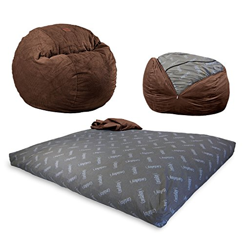 CordaRoy's Chenille Bean Bag Chair, Convertible Chair Folds from Bean Bag to Bed, As Seen on Shark Tank - Espresso, Full Size