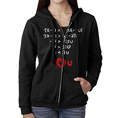 Perky I Love You Math Formula Women's Active Comfy Full-Zip Hooded Sweatshirt