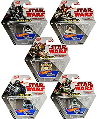Set of 10 Hot Wheels Star Wars Battle Rollers Starship Die Cast Vehicles Character Collectible Action Toy Figures