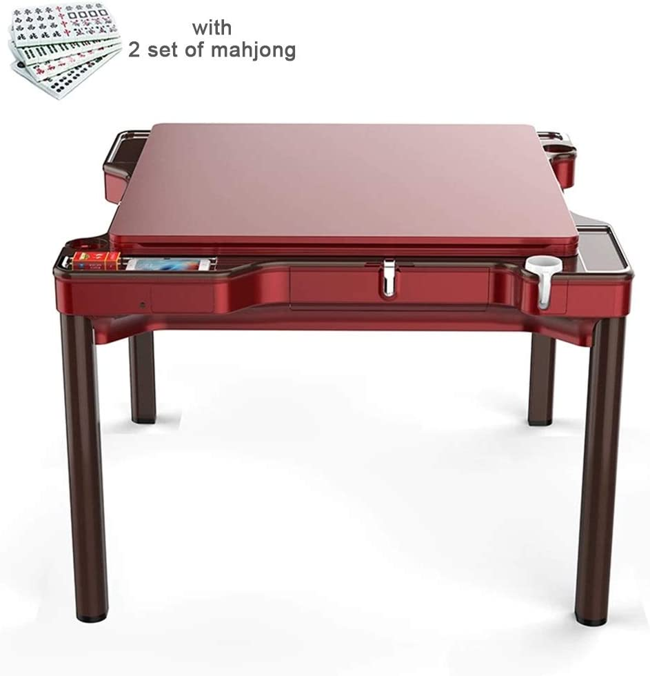 USB Charging Automatic Dining Cup Holder Large Tiles Rose Red Mahjong Storage Box Table