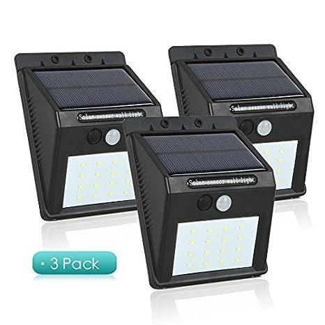 Sensor de luz solar eDealMax Movimiento 16 hilos impermeable Foco energía solar pared del jardín de