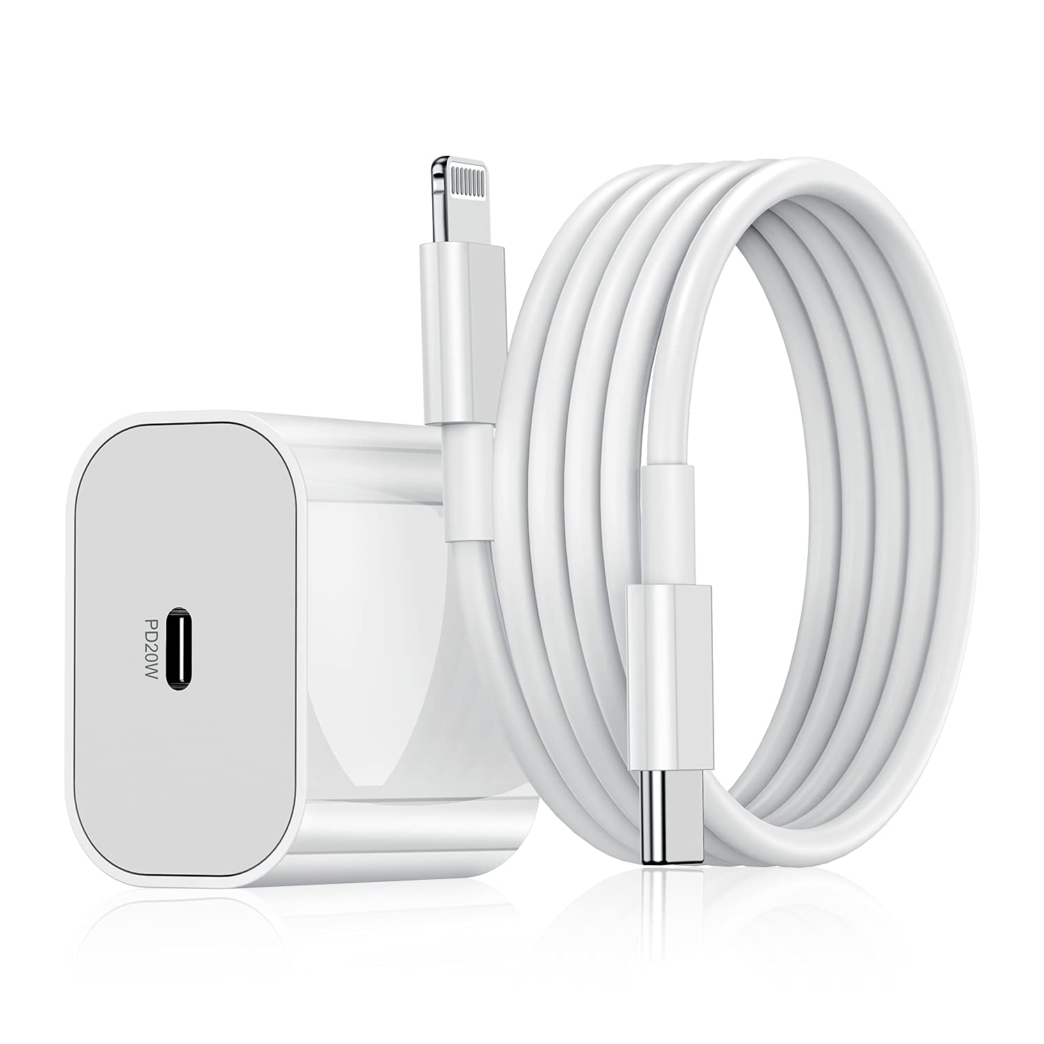 iPhone Fast Charger, [ Apple MFi Certified ] 20W PD Wall Charger Block with 6ft USB C to Lightning Cable, USB-C Power Adapter for Apple iPhone 12/12 Mini/12 Pro/12 Pro Max/11, iPad Pro,Samsung Galaxy