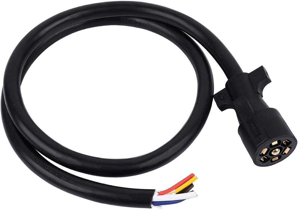 SCITOO 4 FT 7 Way Trailer Cord Wire Harness Light Plug Connector Molded RV Cable Heavy Duty 7 Way Trailer Wire