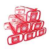 Rough Enough Multi-function Clear Transparent Tool Pouch Big Pouch Holder Container Drawer Partition (Red Set 6 pcs)