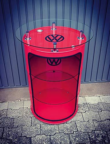 Brisa VW Collection - Volkswagen Golf GTI Coche Vitrina de Tambor de Petrolio, Mesa Alta de Bar con Tablero de Vidrio, Mueblos Vintage para el Salon (Rojo)