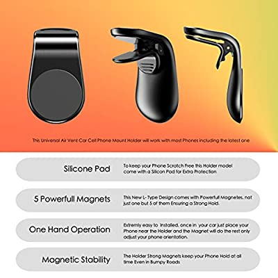 Magnetic Phone Car Mount Holder for iPhone Magnet Phone car Holder L-Type Air Vent Compatible Phones iPhone Xs XS Max Xr x 11 Samsung Galaxy s10 s9 s8 s7 Small Tablets