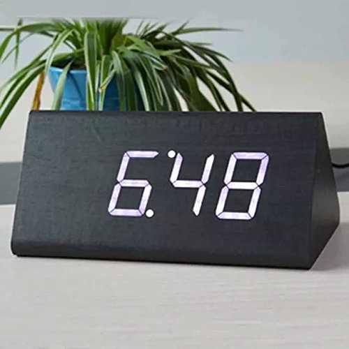 SPA Tool® Battery or USB Powered Triangle - Desktop Home Office travel Clock with Time Display and Voice Control (Black wood White LED)