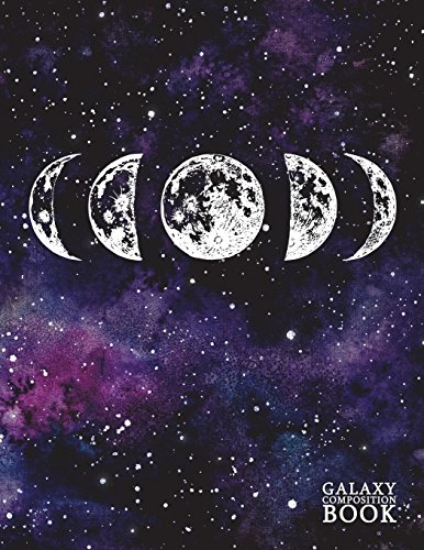 Galaxy Composition Book Moon Phases Dot Grid Journal Notebook Diary Log Book for Note Taking, Journaling, Sketching, Work and School | Large (8.5 x 11) Soft Matte Cover (Galaxy Notebooks) [Stationery, Pretty] (Tapa Blanda)