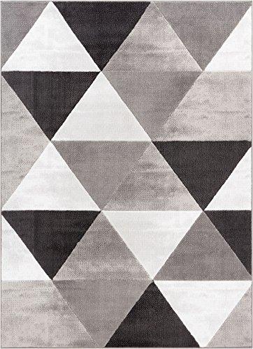 (Well Woven Arlo Tiles Grey Modern Triangle Pattern 5 x 7 (5' x 7'2'') Area Rug Abstract Geometric Carpet )