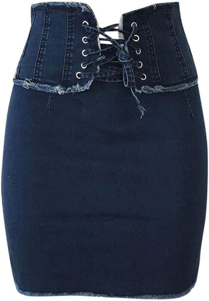Yesmile Mujer Falda Moda 2020 Cintura Alta S/ólido Casual Denim Bodycon con Cordones Jean Falda Corta Encaje Mezclilla Cintura Las Mujeres